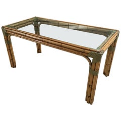 Mid-Century Modern Italian Bamboo Table with Glass Top, 1970s