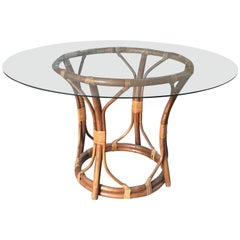 Mid-Century Modern Italian Bamboo Table with Glass Top