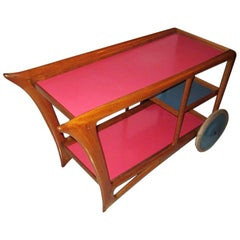 Mid-Century Modern Italian Bar Cart with Colored Tops and Castors, Milano, 1950s