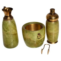 Mid-Century Modern Italian Bar Set Aldo Tura Macacbo Green Goatskin Brass