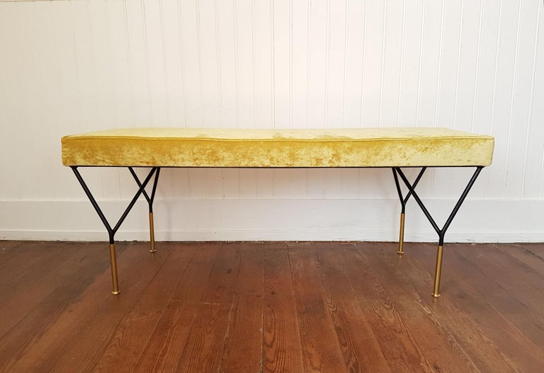 Mid-Century Modern Italian Bench, Reupholstered with Yellow Velvet, circa 1980s In Excellent Condition For Sale In Dallas, TX