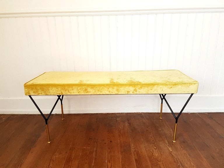 Late 20th Century Mid-Century Modern Italian Bench, Reupholstered with Yellow Velvet, circa 1980s For Sale