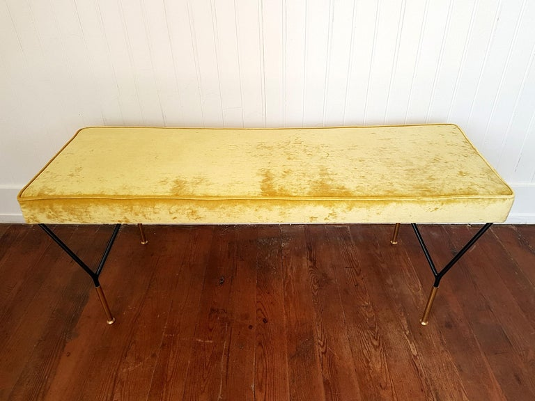 Brass Mid-Century Modern Italian Bench, Reupholstered with Yellow Velvet, circa 1980s For Sale