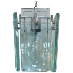 Mid-Century Modern Italian Beveled Glass and Chrome Pendant Light Fixture