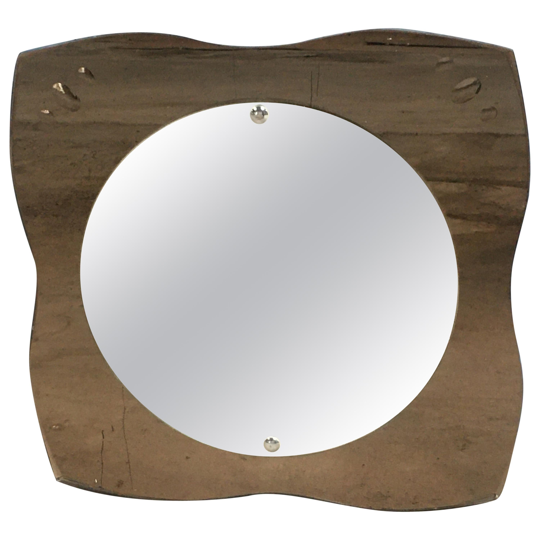 Mid-Century Modern Italian Beveled Wall Mirror with Smoked Mirror Frame, 1970s