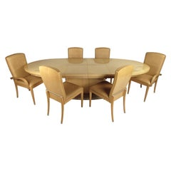 Mid-Century Modern Italian Bird's-Eye Burl Maple Dining Set