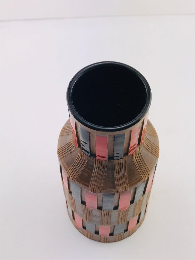 Mid-20th Century Mid-Century Modern Italian Bitossi Red and Black Ceramic Vase, 1960 For Sale