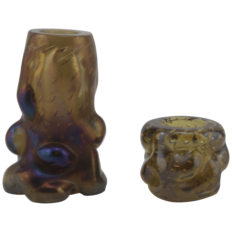 Mid-Century Modern Italian Black and Purple Murano Glass Candle Holders, 1960s
