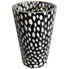 Mid-Century Modern Italian Black Art Glass Canne Millefiori Vase