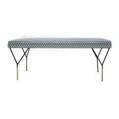 Mid-Century Modern Italian Black Lacquered Iron Brass Footstool