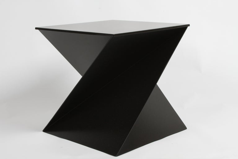 Late 20th Century Mid-Century Modern Italian Black Painted Cubist or Origami Side Table For Sale