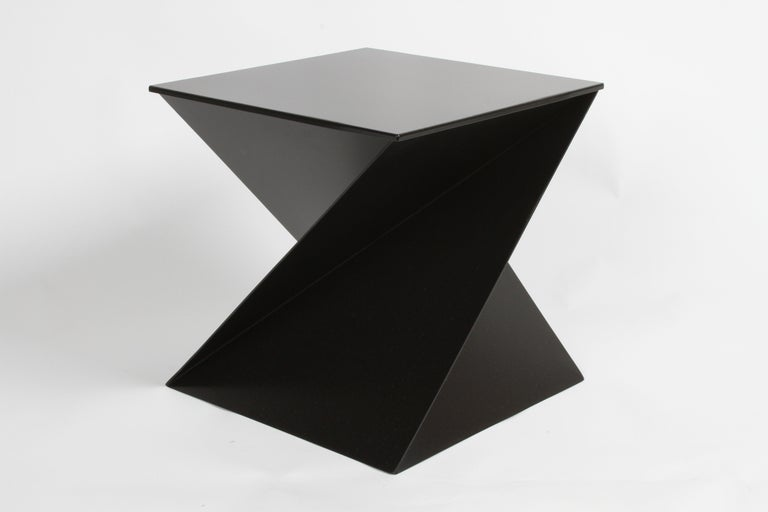 Metal Mid-Century Modern Italian Black Painted Cubist or Origami Side Table For Sale