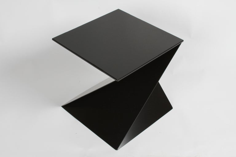 Mid-Century Modern Italian Black Painted Cubist or Origami Side Table For Sale 1
