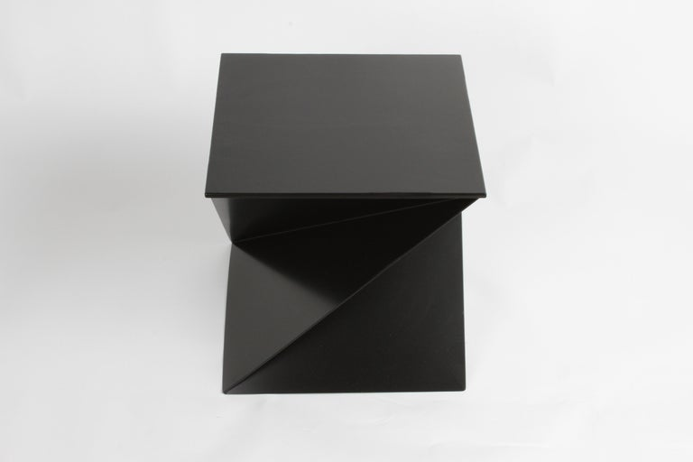 Mid-Century Modern Italian Black Painted Cubist or Origami Side Table For Sale 4