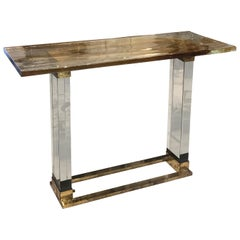 Mid-Century Modern Italian Blown Glass and Brass Console by Venini