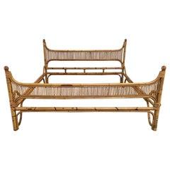 Mid-Century Modern Italian Bonacina Bamboo Bed Frame, 1970s