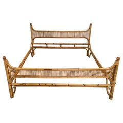 Mid-Century Modern Italian Bonacina Double Bamboo Bed Frame, 1970s