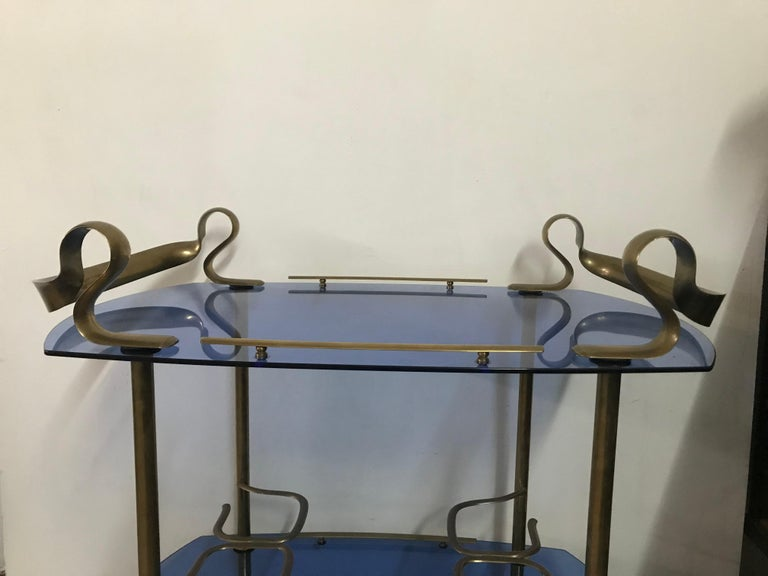 Mid-Century Modern Italian Brass and Glass Bar Cart Attributed to Fontana Arte 16