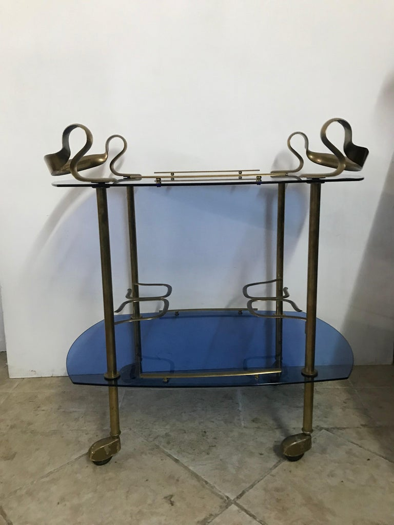 Mid-Century Modern Italian Brass and Glass Bar Cart Attributed to Fontana Arte 19