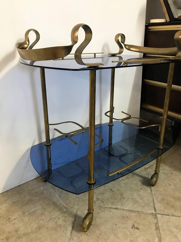 Mid-Century Modern Italian Brass and Glass Bar Cart Attributed to Fontana Arte 3