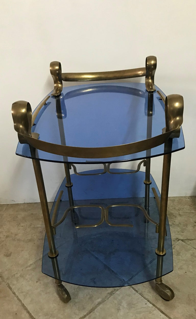 Mid-Century Modern Italian Brass and Glass Bar Cart Attributed to Fontana Arte 5