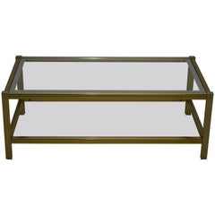 Mid-Century Modern Italian Brass and Glass Coffee Table, 1970s