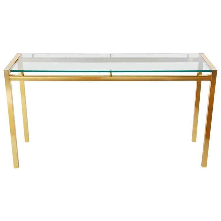 Mid-Century Modern Italian Brass and Glass Console Table, Sofa Table ...
