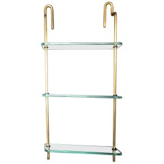 Mid-Century Modern Italian Brass and Glass Hanging Shelves