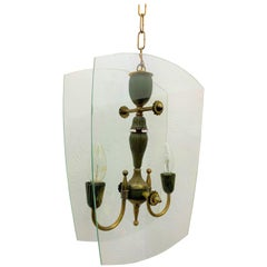 Mid-Century Modern Italian Brass and Glass Lantern Attributed to Lumi circa 1940