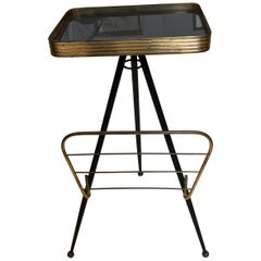 Mid-Century Modern Italian Brass and Glass Side Table and Magazine Rack, 1950
