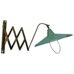 Mid-Century Modern Italian brass and green painted metal Scissor Lamp1950