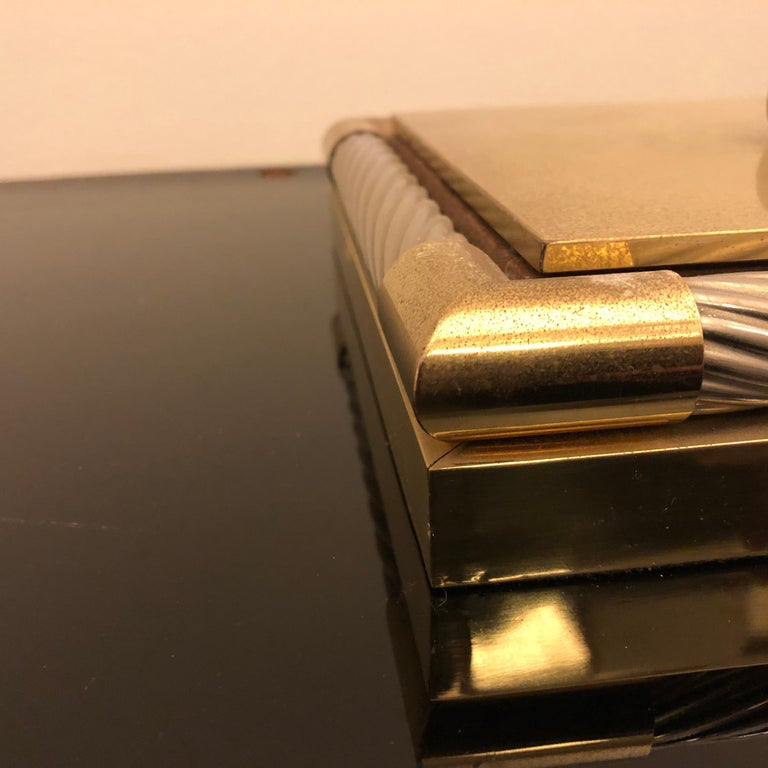 Mid-Century Modern Italian Brass and Silver Plated Vanity Box, 1970 In Good Condition For Sale In Aci Castello, IT