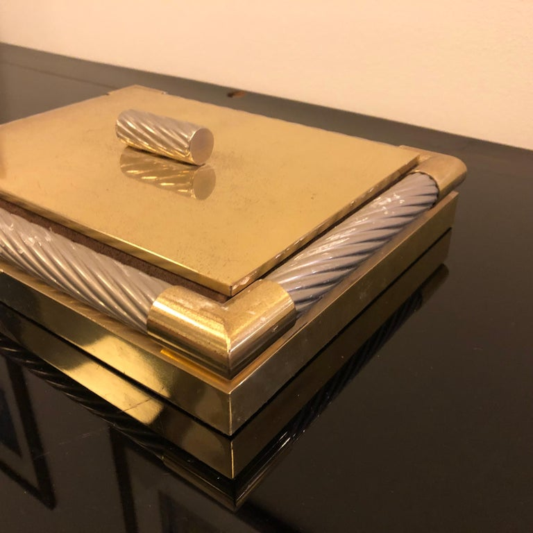 Mid-Century Modern Italian Brass and Silver Plated Vanity Box, 1970 For Sale 1