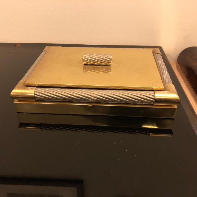 Mid-Century Modern Italian Brass and Silver Plated Vanity Box, 1970 For Sale 5