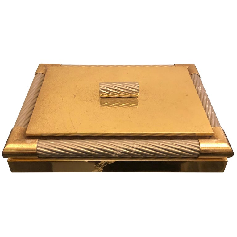 Mid-Century Modern Italian Brass and Silver Plated Vanity Box, 1970 For Sale