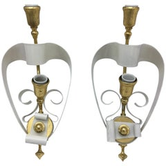 Mid-Century Modern Italian Brass and White Painted Metal Wall Sconces, 1950