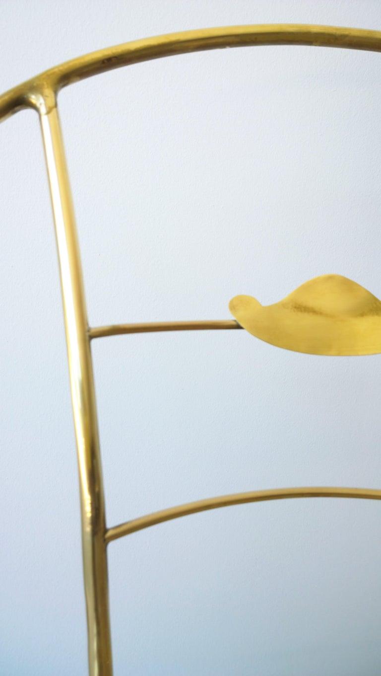 Italian Shiny Brass Art Piece Decorative Armchair with Basket Weave Design Seat For Sale 6