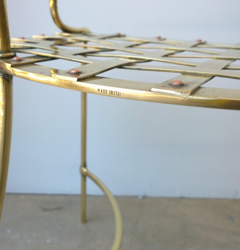 Italian Shiny Brass Art Piece Decorative Armchair with Basket Weave Design Seat For Sale 8