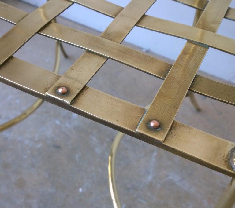 Italian Shiny Brass Art Piece Decorative Armchair with Basket Weave Design Seat For Sale 9