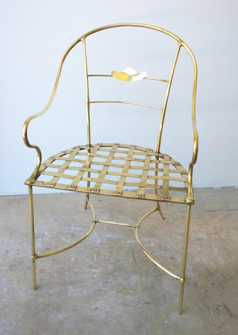 Mid-Century Modern Italian Shiny Brass Art Piece Decorative Armchair with Basket Weave Design Seat For Sale