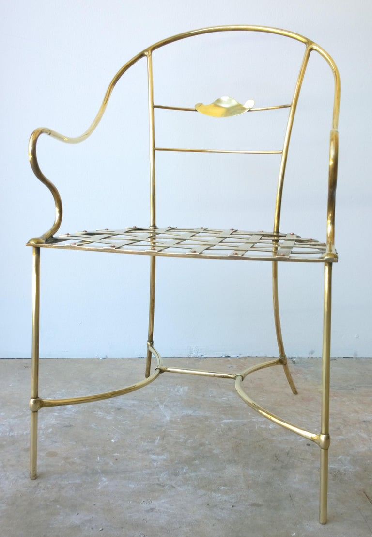 Italian Shiny Brass Art Piece Decorative Armchair with Basket Weave Design Seat In Good Condition For Sale In Houston, TX