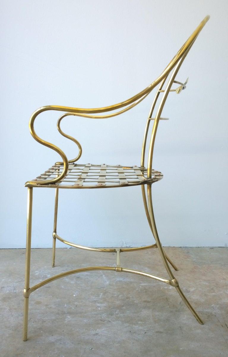 20th Century Italian Shiny Brass Art Piece Decorative Armchair with Basket Weave Design Seat For Sale