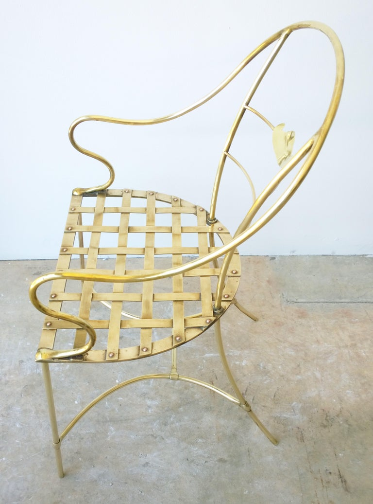 Italian Shiny Brass Art Piece Decorative Armchair with Basket Weave Design Seat For Sale 1