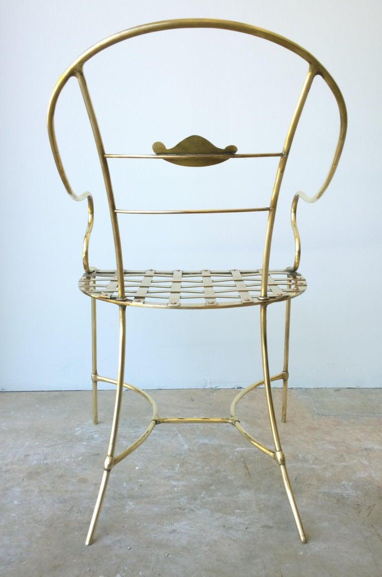 Italian Shiny Brass Art Piece Decorative Armchair with Basket Weave Design Seat For Sale 2