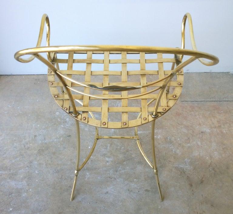 Italian Shiny Brass Art Piece Decorative Armchair with Basket Weave Design Seat For Sale 4