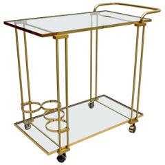 Mid-Century Modern Italian Brass Bar Cart, 1970s