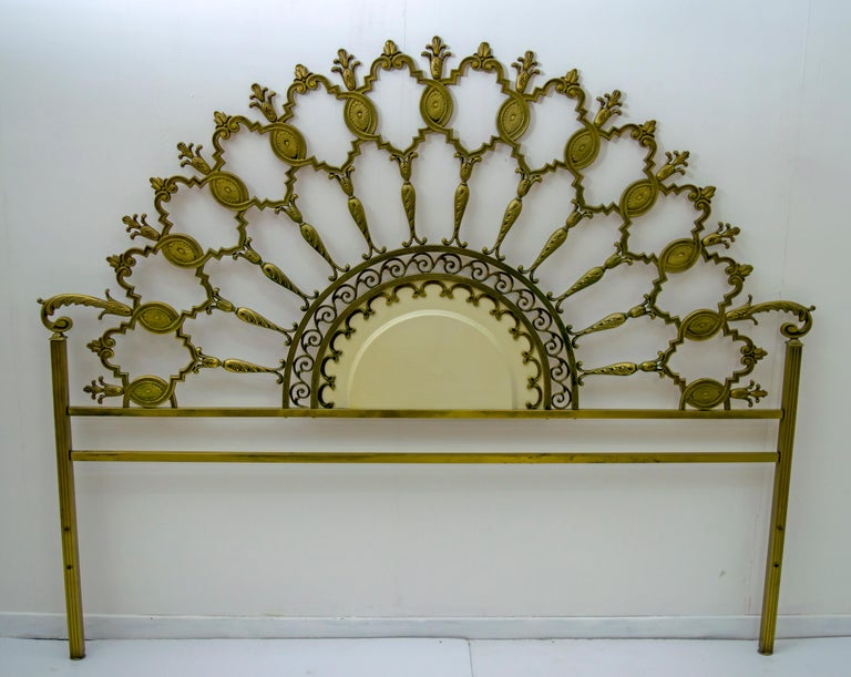 Neoclassical style solid brass bed from the Mid-Century Modern period, Italy 1960s.