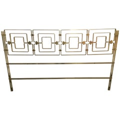 Mid-Century Modern Italian Brass Bed Head with Geometric Patterns, 1970s