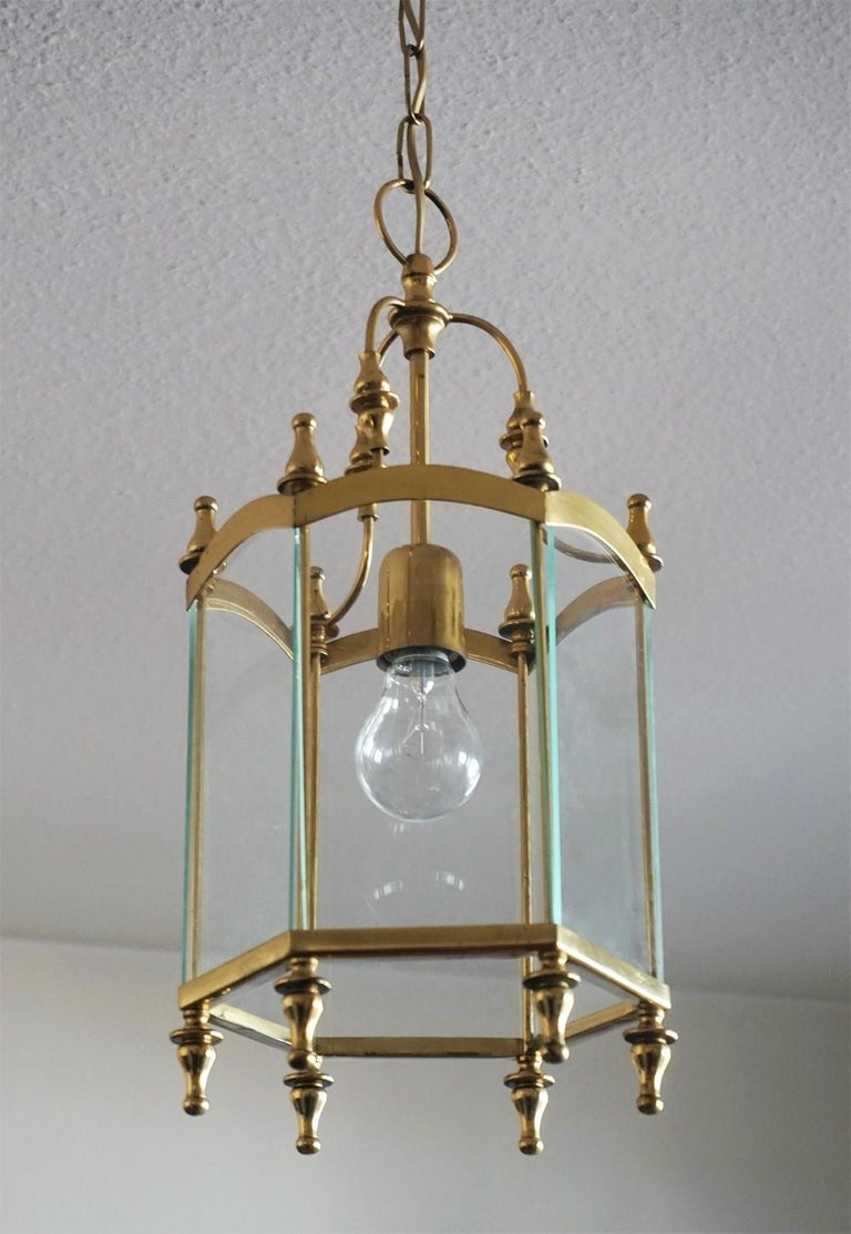 20th Century Mid-Century Italian Brass Clear Glass Lantern, Pendant For Sale