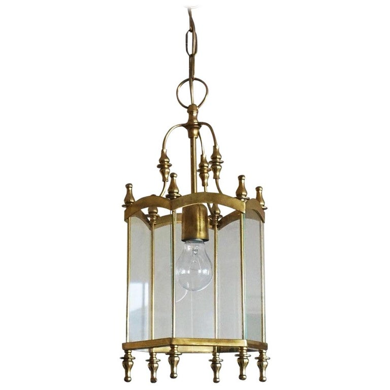 Mid-Century Italian Brass Clear Glass Lantern, Pendant For Sale